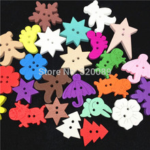 300pcs 20-30mm Bright Mix Wood Buttons Bear Star Christmas Umbrella Baby Fancy Button Sewing Accessories For Scrapbooking