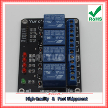 Free Shipping 3pcs 4-Way Relay Expansion Board / Module four channel MCU Development Support AVR / 51 / PIC (YW04) (C7A3)