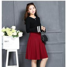 Autumn And Winter Grown Place Umbrella Skirt Retro Waisted Body Skirt New Europe And The Code Word Pleated