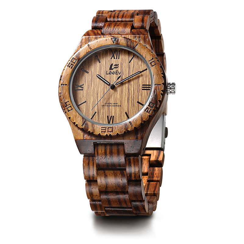 LeeEv EV1908 Mens Natural Zebra Sandal Wood Watch Analog Quartz Light Weight Vintage Wooden Wrist Watch<br>