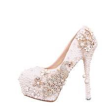 New arrival white pearl bridal wedding pumps high heels shoes high-heeled platform crystal soles diamond luxury wedding shoes(China)