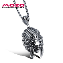 New 2016 Cool Men Stainless Steel Skull Pendant Choker Necklace Collares Punk Jewelry Accessories Silver Chain Necklace MGX1050(China)