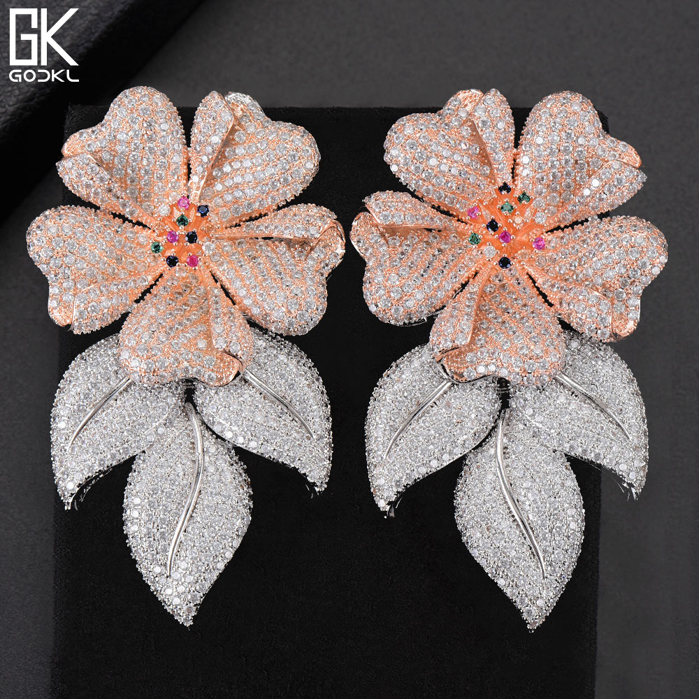 GODKI 63MM Luxury Flower Leaves Nigerian Long Dangle Earrings For Women Wedding Zircon Crystal CZ Indian Gold Bridal Earring2018