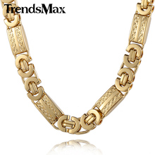 Trendsmax 11mm Mens Chain Necklace Gold-color Byzantine Link Stainless Steel Necklace KN272