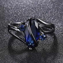Charming Women Fashion ring for women wedding Band luxury engagement jewelry Blue Cubic Zircon Ring For Party 5 Size