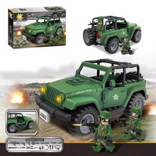 New The Jeep Wrangler Off-road Classic Vehicle Model Military Assault Team Figures Building Blocks Bricks Boy's Educational Toy