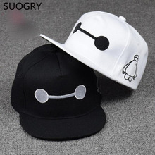 Free Shipping Embroidery Big Hero 6 Baymax Baseball Cap Hat For Men Women Fashion Adjustable Baymax Hip Hop Snapback Cap Gift