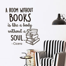 Wall Decal Quotes Books A Room Without Books Is Like A Body Without A Soul Vinyl Lettering Inspirational library Wallpaper JW061