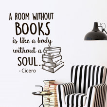 Wall Decal Quotes Books A Room Without Books Is Like A Body Without A Soul Vinyl Lettering Inspirational library Wallpaper JW061(China)
