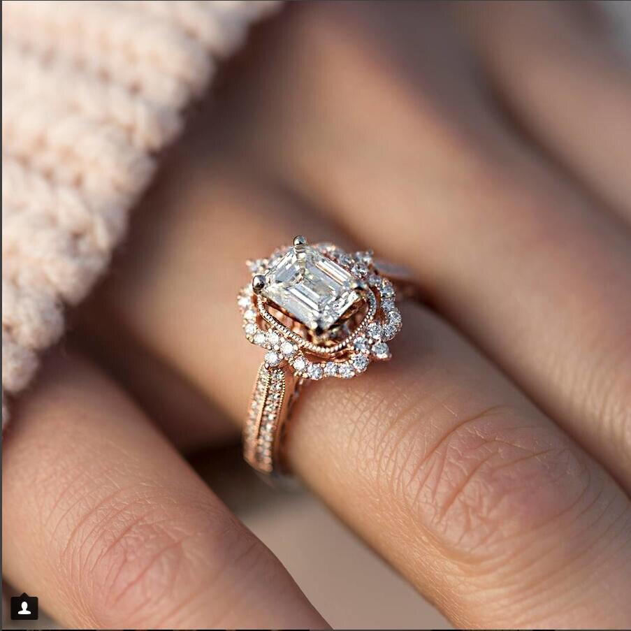 925 Sterling Silver Romantic Multi-Coloured Zirconia Cross Crown Wedding Ring