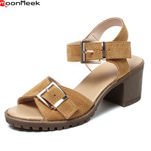 MoonMeek 2018 summer platform shoes round toe extreme high heel with buckle square heels leisure shoes women sandals(China)