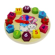New Wooden  Environmental Kids Childrens Toys Clock Geometry Numbers Stacking Blocks