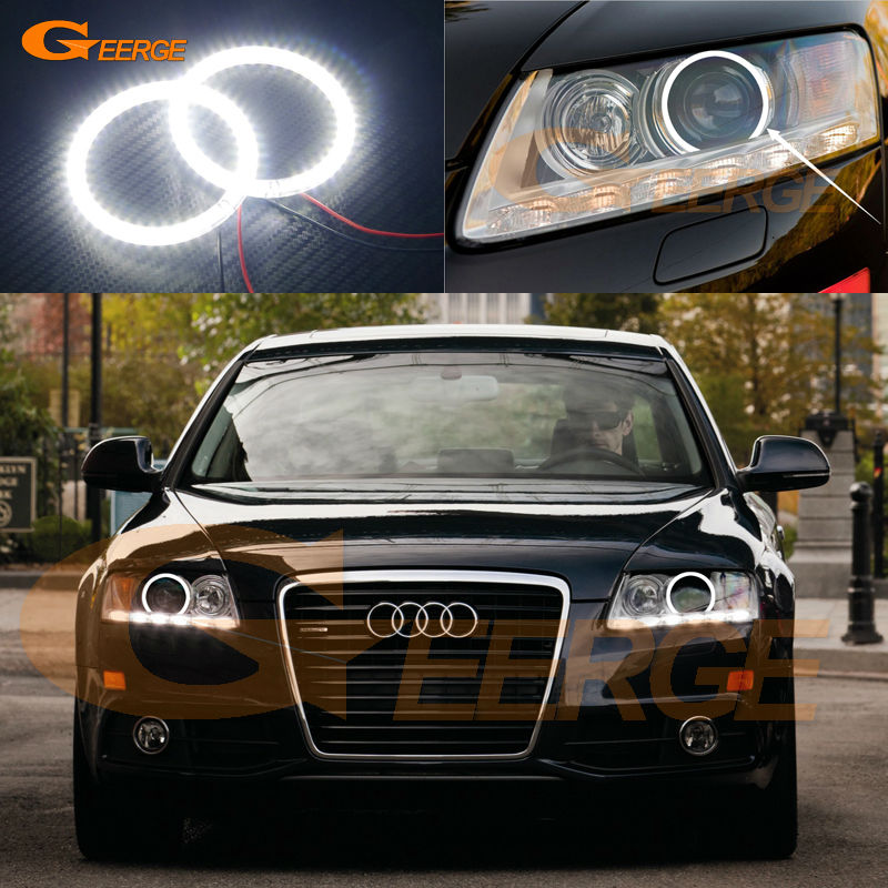 For AUDI A6 S6 RS6 2009 2010 2011 XENON headlight Excellent Ultra bright illumination smd led Angel Eyes kit Halo Ring<br>