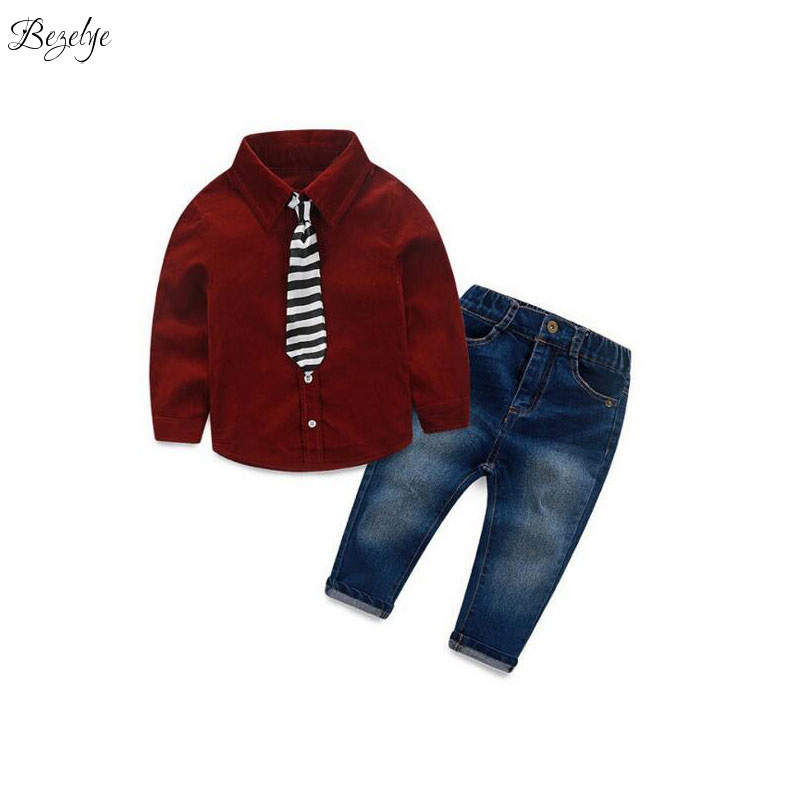 Fashion Boy Set Childrens Suits for Boys Sport Suit Children Spring Teenagers Clothes for Boys Shirt and Jeans School Clothes<br>