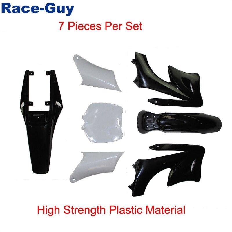 White Race-Guy White 7 Pieces High Strength Plastic Fender Fairing Boday Kits For Chinese 2 Stroke 47cc 49cc Apollo Orion Mini Dirt Bike