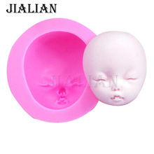 Fondant molds DIY Baby head Silicone Mould Barbie Doll Face  Chocolate Cake tools mask Silicone form T-957