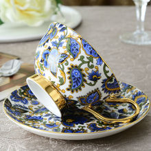 Fine European Style Bone China Black Tea Cups & Saucers Premium Ceramic Coffee Cup Set Blue Floral Pattern Porcelain Drinkware(China)