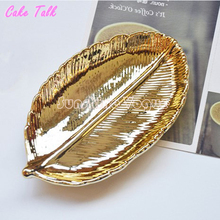 Leaf gold tray cake plate vintage style ceramic jewelry display dish 3.5 inches bakeware candy bar decoration cupcake tea tray
