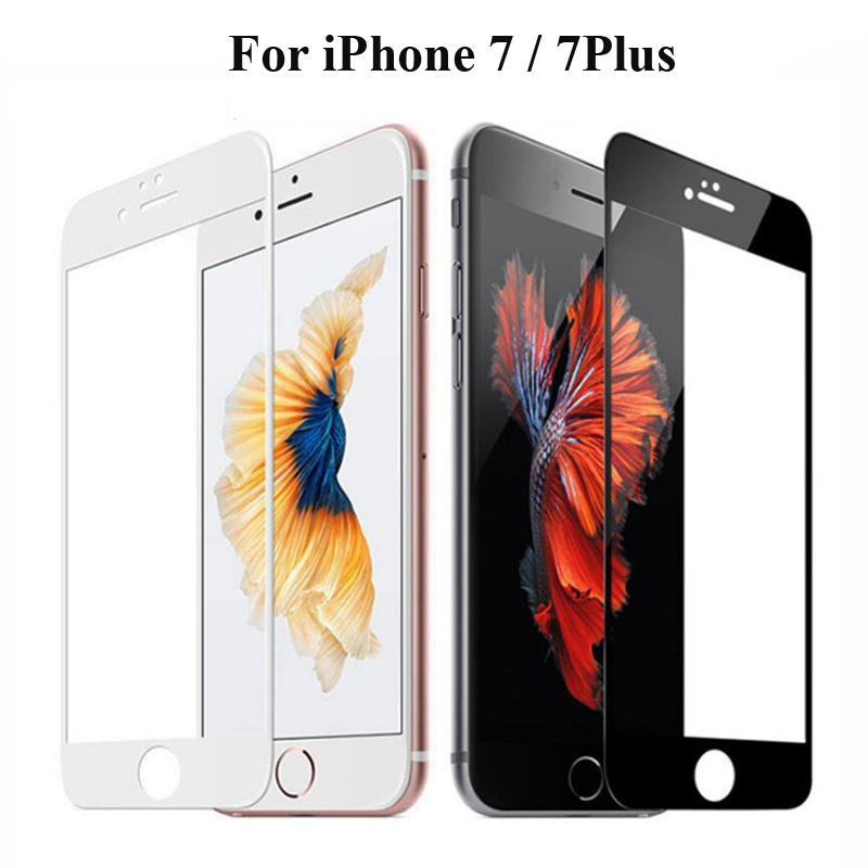 Carbon Fiber Full Cover 3D Curved Tempered Glass For iPhone 7 7Plus 7G Screen Protector Toughened Protective Film Phone Cases
