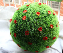 Wholesale Price!! Mixed Sizes Artificial Topiary Balls With Flowers Outdoor Hanging Baskets Grass Balls Lawns Garden Decoration