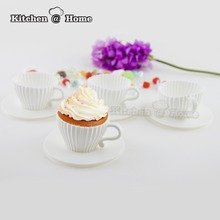 4pcs/set Silicone Cupcake Cups Muffin Moulds Baking Teacup Molds With 4 Saucers Kitchen Accessories KK059