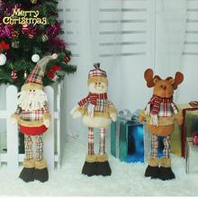 Retractable Christmas Santa Claus Snowman Reindeer Doll Kid Gift navidad Xmas Tree Ornaments Christmas Decorations for home(China)