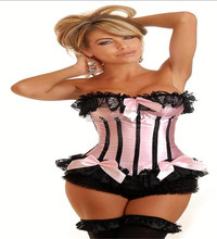 free shipping ladies pink lace top bow satin lace up overbust lace corset S-6XL(China)