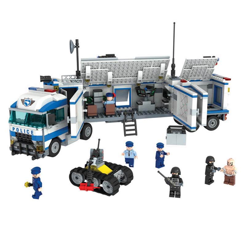 QWZ Military Mobile Command Vehicles Police City Series Set Building Bricks Blocks DIY Educational Assembled Childens Toys Gifts<br><br>Aliexpress
