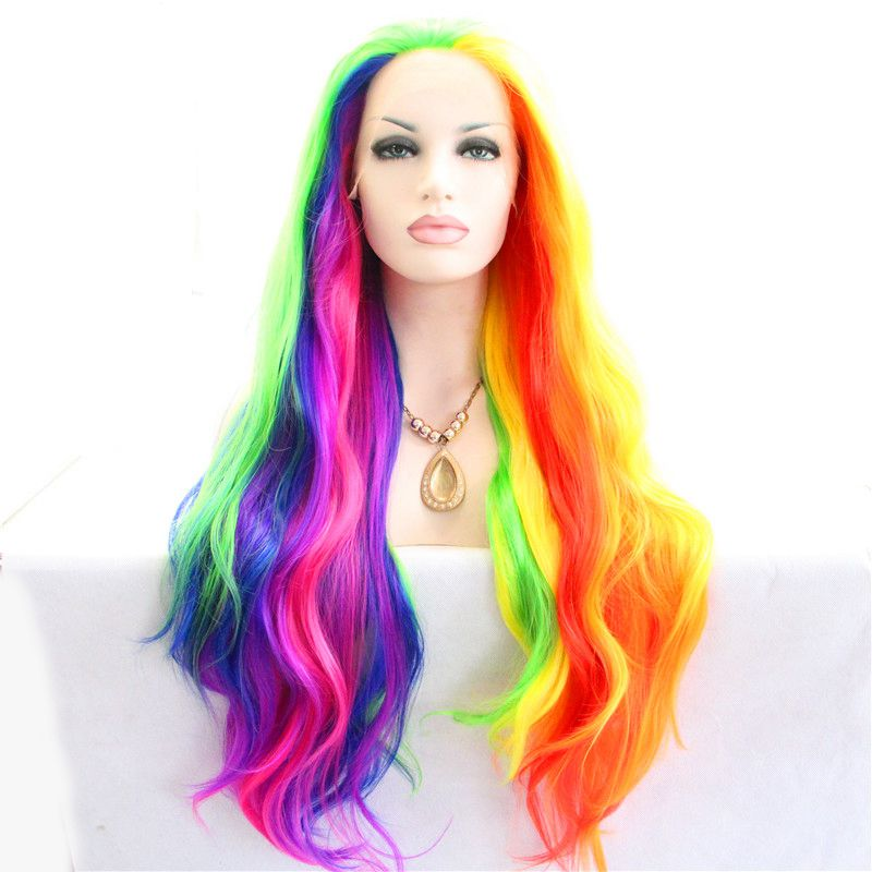 High Quality  Long Heat Resistant Synthetic Body Wave wig fashional colorful drag queen piano Lace Front wig for Black Women<br><br>Aliexpress