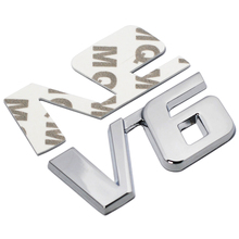 Car Chrome Metal V6 Emblem Badge 3D Decal Trunk Auto Motor Sticker Car Styling Sticker for Ford Fiesta Kuga Ranger Galaxy Fusion(China)
