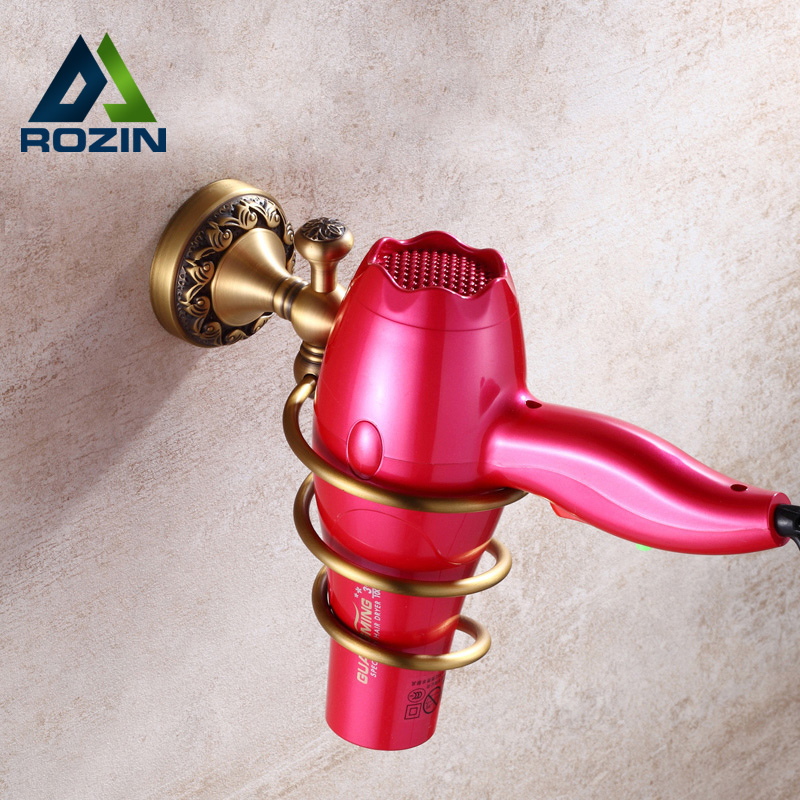 Antique Brass Wall Mount Hair Dryer Rack Electric Hair Dryer Organizer Rack Free Shipping <br><br>Aliexpress