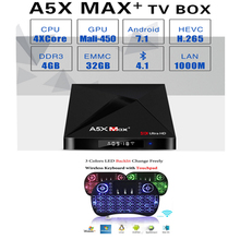 Buy A5X Max Plus Smart Android 7.1 TV Box RK3328 4K HDR10 USB3.0 4GB 32GB dual-band Wifi LAN Bluetooth 4.0 HD Media Player A5X MAX+ for $75.87 in AliExpress store