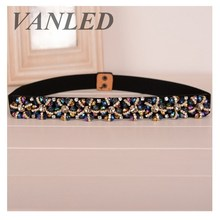 Vanled 2017 Summer Women'S Belt High-Grade Crystal Waist Trainer Retro Ladies Jeweled Belt Leather Waist Belt Cinturon Mujer