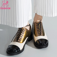 LANMREM   2017 New spring Pattern Stitching shining Round Toe Patent leather high quality women fashion shoes B07008
