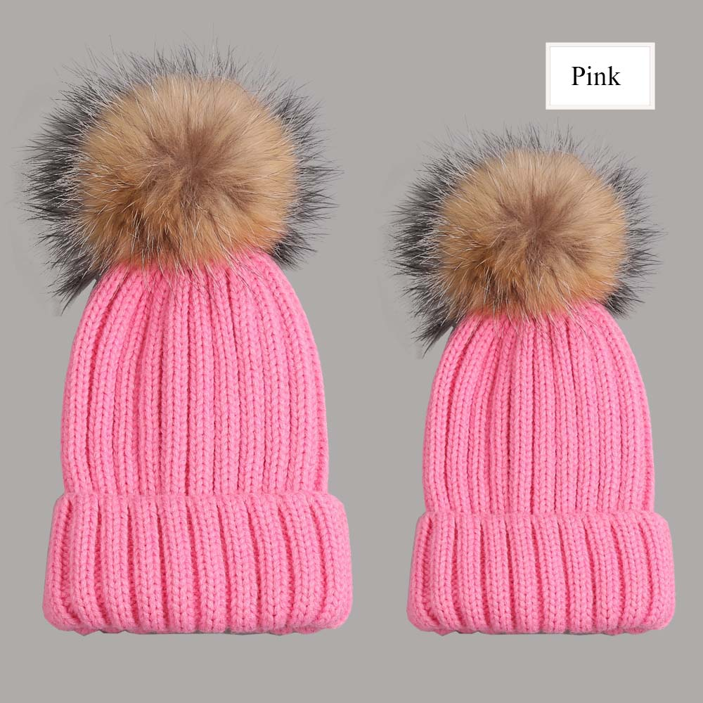 beanies with pompom thick pink