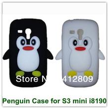Cute Young Style Penguin Covers for Mini i8190 3D Cartoon Penguin Case for Samsung Galaxy SIII S3 mini i8190 35PCS Free