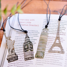 1pcs/lot Creative European Vintage Building Metal Bookmark Eiffel Tower Statue Of Liberty Elizabeth Tow Personalized Book Marks(China)