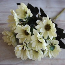 1 Bunch Artificial Fake Bridal Daisy Flower Bouquet Home Wedding Party Decoration(China)