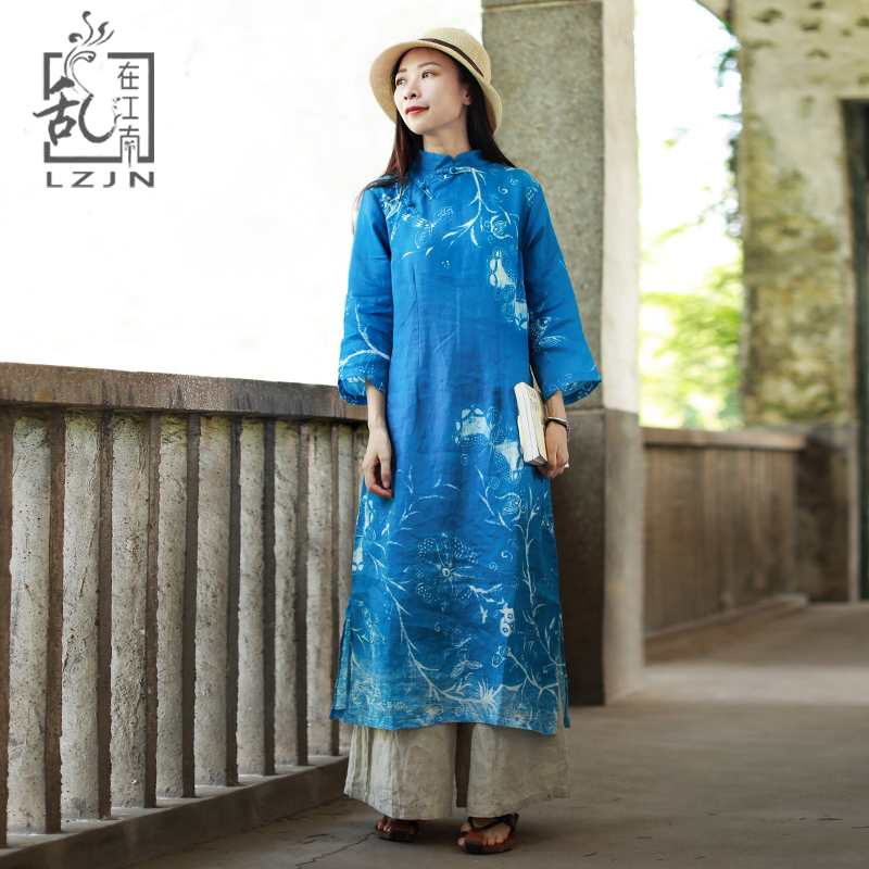 LZJN 3/4 Sleeve Blue Dress 2019 Summer Autumn Traditional Chinese Long Dress Floral Print Modern Cheongsam Oriental Qipao Robe