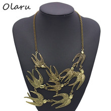 Olaru Jewelry New Factory Price Vintage Jewelry Ten Swallow Pendant Hot Choker Necklace NJ-234(China)