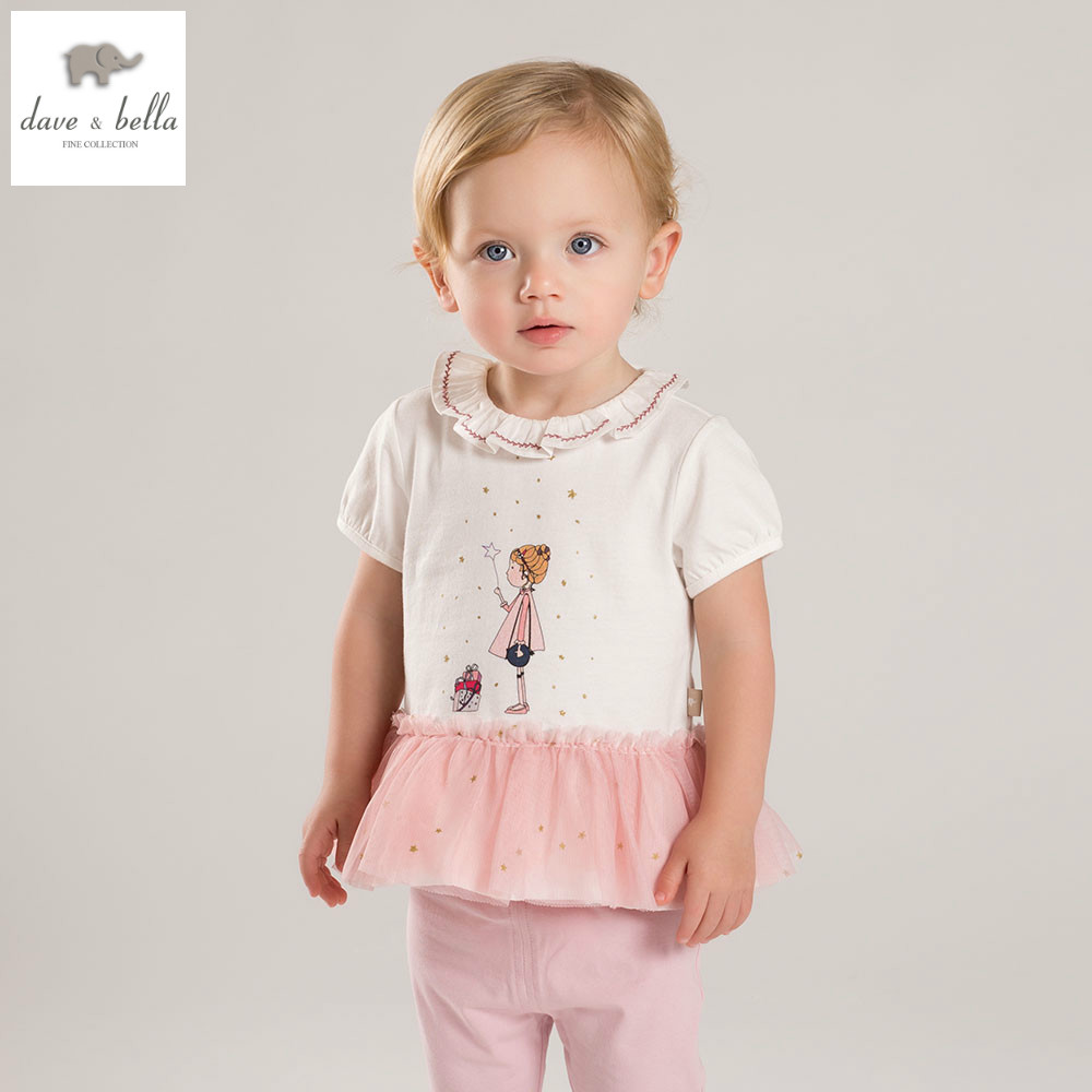 DB4354 dave bella summer baby girls fashion clothing sets kids stylish clothing sets toddle cloth kids sets baby fancy clothes<br>