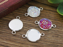 16pcs 12mm Inner Size Silver Plated Brass Material Simple Style Cabochon Base Cameo Setting Charms Pendant Tray (A1-10)