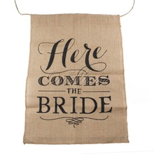 Hot Khaki Here Comes the Bride Natural Jute Fabric Burlap Banner Flags for Wedding Decoration 110cm String