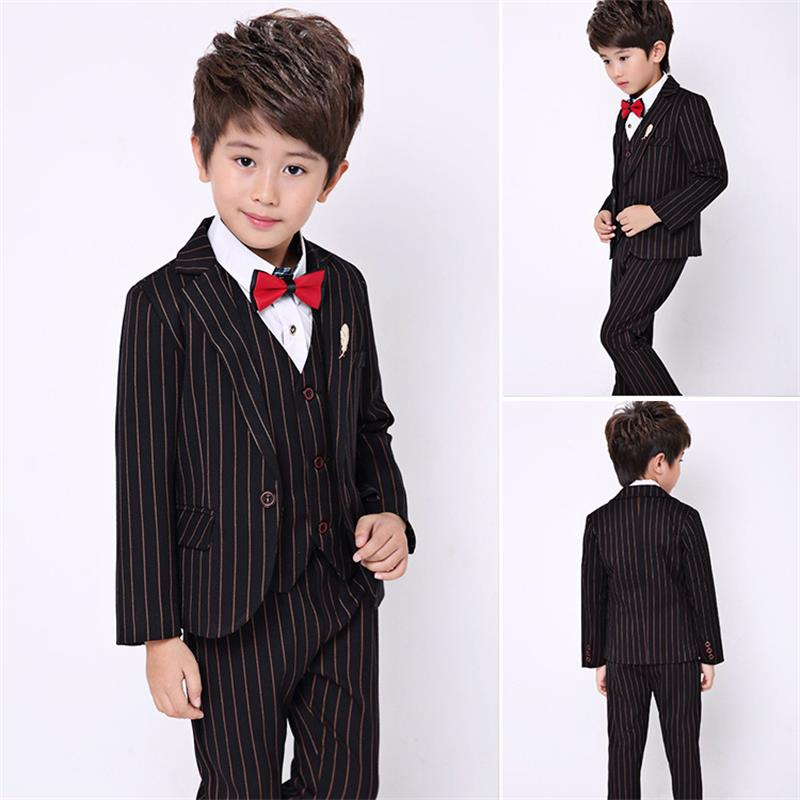 High quality 2018 children's clothing boy coat pants suit fashion children summer clothes dress striped suit three-piece suit