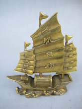 Chinese Beautiful Handmade Copper statue boat Smooth sailing(China)