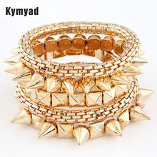 Kymyad Punk Bracelets Bangles Sets Multilayer Stretch Bracelets For Women Elegant One Directions Charm Bracelet Femme Pulseiras(China)