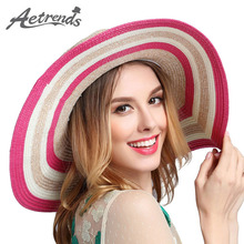 [AETRENDS] 2017 Newly Travel Beach Hat UV Protection Cap Summer Straw Hats for Women Z-2716()