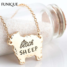 FUNIQUE Fashion Pendant Necklace Silver Gold Tone Wolf Bear Sheep Animal Pattern Mama Letter Charm Necklace Jewelry Mother's Day