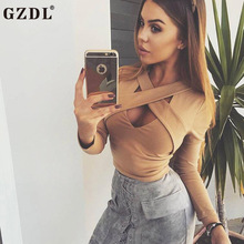 GZDL Fashion Autumn Fashion Long Sleeve Crop Tops Sexy V Neck Solid Blusas Women Night Club Blouses Clothing White Black CL3311