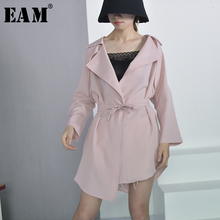 Buy EAM 2018 new spring lapel long sleeve solid color black loose big size windbreaker women coat belt fashion tide JA98101M for $23.49 in AliExpress store